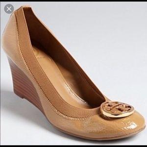 Tory Burch Caroline Nude Patent Leather Wedge